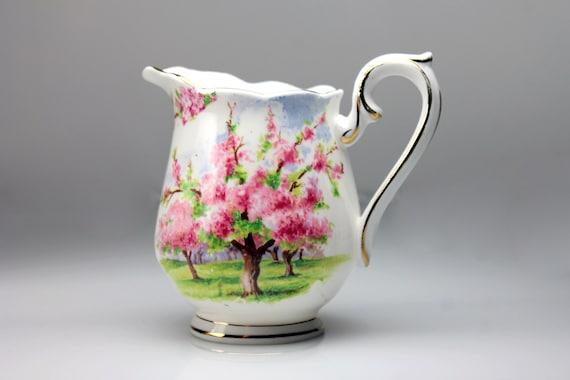 Royal Albert Mini Creamer, Blossom Time, Bone China, Cherry Tree, Gold Trim