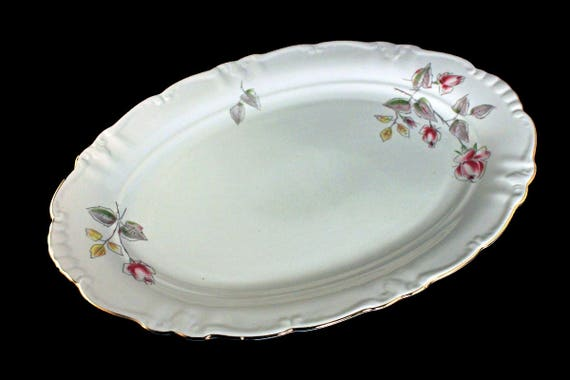 Platter, Winterling Bavaria, Germany, Floral Rose Pattern, Gold Trimmed, 13 Inch