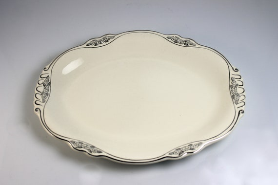Oval Platter, Homer Laughlin, Silver Rose-Patrician, 11 Inch, Platinum Florals and Trim, Virginia Rose Shape, Fine China