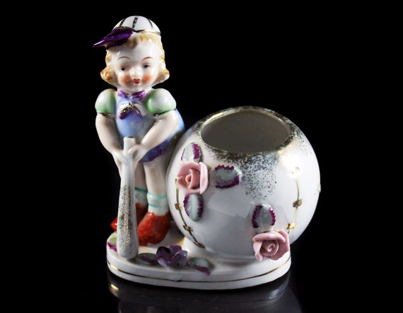 Girl Baseball Player Planter, Sphinx Japan, Raised Flowers, White and gold, Porcelain, Figurine, Collectible, Decor
