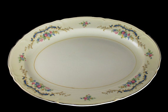Oval Platter, Edwin Knowles, Princess Pattern, Blue Scroll, Multicolor Flowers, Gold Trimmed, 15 Inch