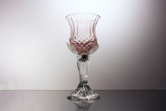 2 Piece Candlestick, Rose Color, Peg Votive Holder, Homeco, Clear Glass Base, Rose Pattern