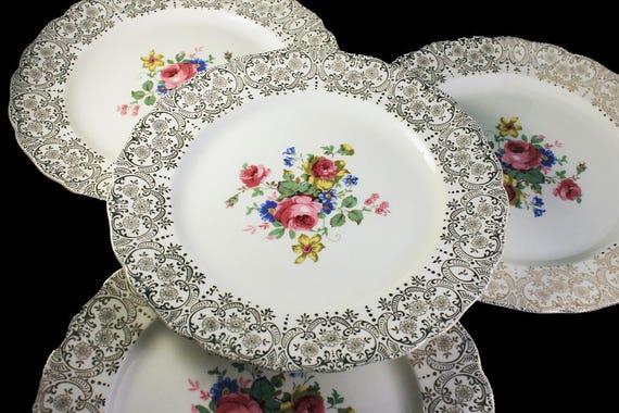 Dinner Plates, Canonsburg Pottery Company, Set of 4, Warranted 22 Karat Gold, Rose Floral Pattern, Gold Filigree