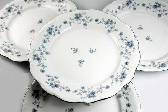 Dinner Plates, Johann Haviland, Blue Garland, Traditions Back Stamp, Floral Pattern, Set of Four, Fine China, Discontinued