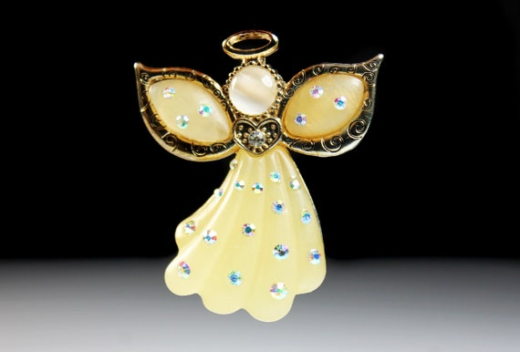 KC Angel Brooch, Kenneth Cole Jewelry, Lucite, Aurora Borealis Rhinestones, Christmas Brooch, Holiday Brooch, Signed