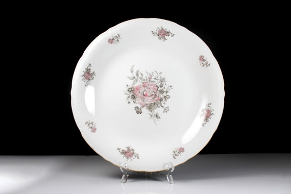 Chop Plate, Fine Bohemian China, Made in Czechoslovakia, Maria Pattern, Pink and Gray Floral, Gold Trim, Embossed