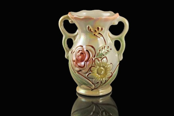 Vase, Iridescent Opalescent Lusterware, Made in Brazil, Hand Painted, Floral Pattern, Double Handled, Ceramic Vase