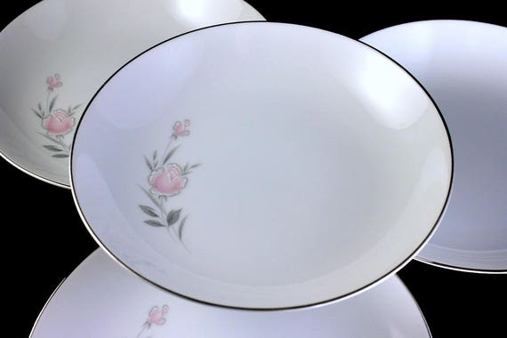 Coupe Soup Bowl, Royal Court, Belle Rose, Fine China, Set of 4, Pink Rose, Platinum Trim