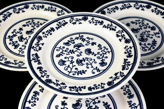 Dessert Plates, Homer Laughlin, Sturbridge, Set of 4, Blue and White, Floral, Pie Plates