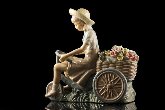 Lenwile Ardalt Figurine, Porcelain, Girl on Tricycle, Flower Seller