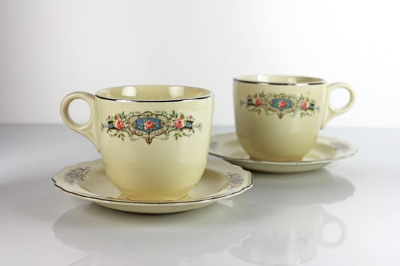 Cups and Saucers, W S George, Canarytone, Lido, Pink Roses, Coffee Mugs, 8 Ounce Mugs, Set of Two, Platinum Trim