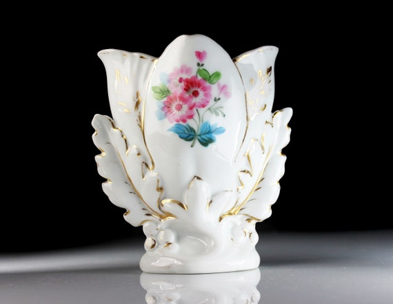 Porcelain Table Vase, Gold Trim, White, Centerpiece, Flower Vase, Pink Floral