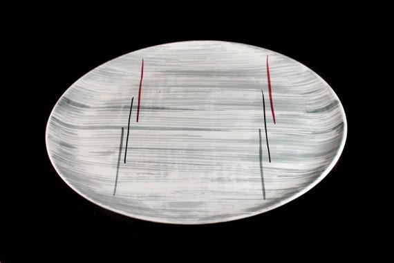 Prim Rose China Platter, Gray Stripes, Oval, Hand-Painted, 14 Inch, Avant-Garde, Art Deco