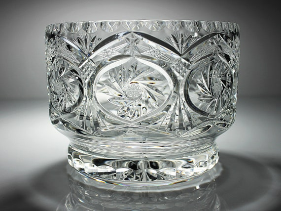 Crystal Centerpiece Bowl, Avitra Williamsburg, Cut Glass, Pinwheel and Fan, Clear Glass, Giftware, Footed Bowl