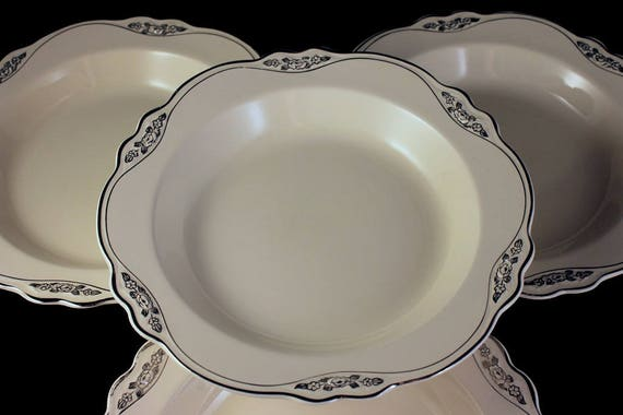 Rim Soup Bowls, Homer Laughlin, Silver Rose-Patrician, Platinum Florals and Trim, Virginia Rose Shape, Set of 4, Fine China