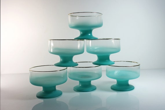 Blendo Sherbet Bowls, West Virginia Glass Specialty, Set of 6, Turquoise Frosted Glassware, Dessert Bowls, Stackable