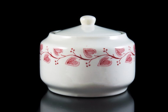 Sugar Bowl, Buffalo China, Windsor, Restaurant Ware, Pink and White, Collectible