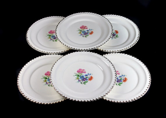 Bread Plates, Harker Pottery Co, Set of 6, Bread and Butter,  Floral Center, 22K Gold Trim, Fine China