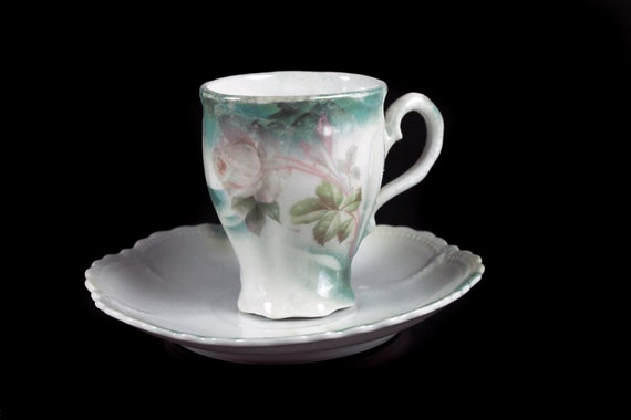 Antique Cup and Saucer, Leuchtenburg China, White Rose, Circa 1910, Collectible, Chocolate Cup