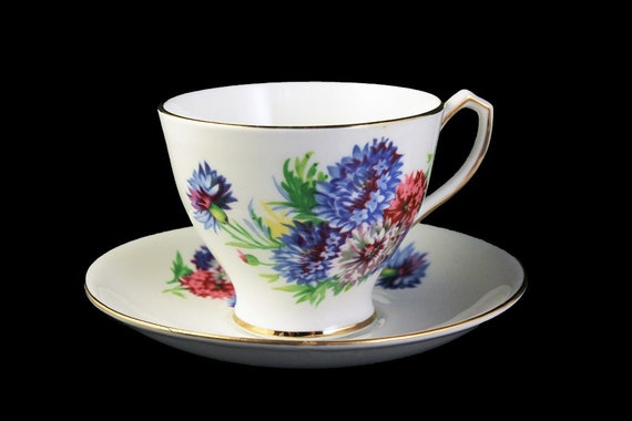 Teacup and Saucer, Bone China, Made In England, Bachelor Button Pattern, Gold Trim
