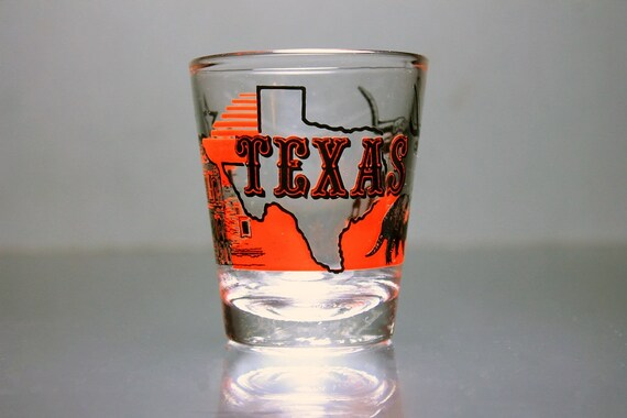 Souvenir Shot Glass, Texas, State Design, Red and Black, Clear Glass, Pryo-Glazed, Collectible, Barware