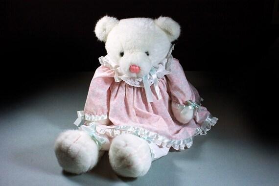 Dakin Stuffed Animal, Teddy Bear, Rebecca, White, Polar Bear, Fluffy, Soft, Sitting Bear, Pink Dress