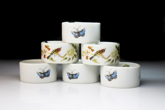 Napkin Rings, Shafford Japan, Chinese Garden, Bird and Butterfly, Porcelain, Set of 6, In Box