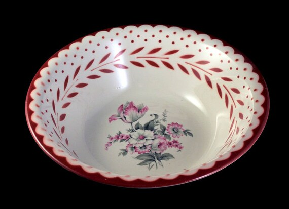 Vegetable Bowl, Homer Laughlin, Red and White, Floral Center, Serving Bowl, Display Bowl, Centerpiece, Hard To Find
