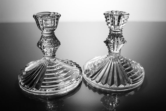 Ribbed Candlesticks, Set of 2, Clear Glass, 4 Inch