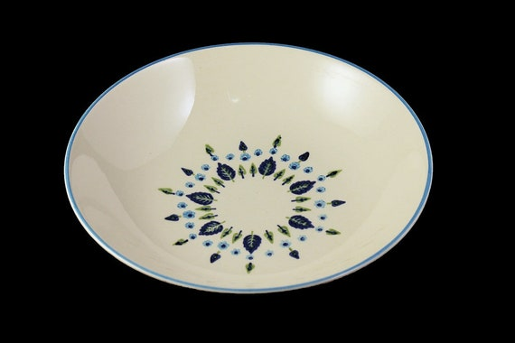 Marcrest, Vegetable Bowl, Swiss Alpine, Blue and White, Leaves and Flowers, Made in USA, Porcelain