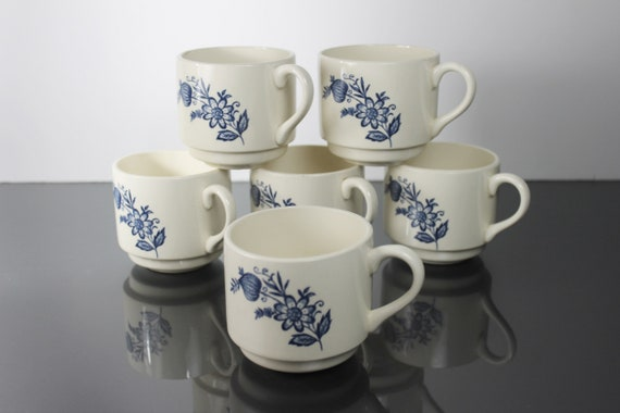 Coffee Cups Scio Pottery, Blue Onion, Mugs, Set of 6, Blue and White, Discontinued