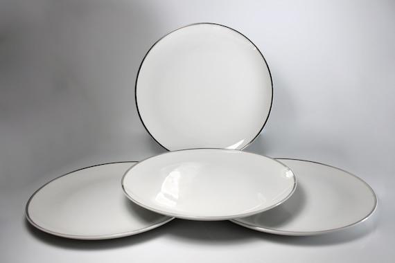 Dinner Plates, Harmony House, Moderne, Platinum Trim, Set of 4, Fine China, White