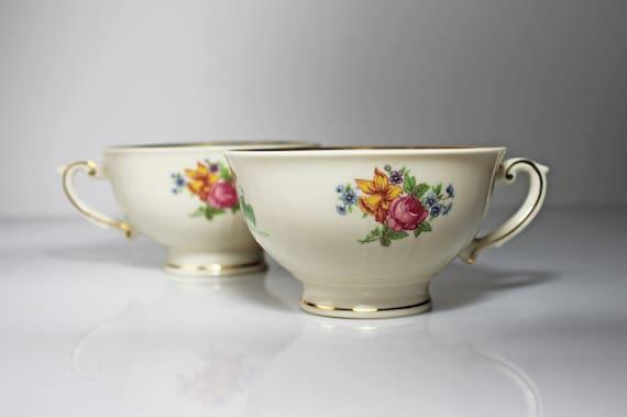 Footed Teacups, Syracuse China, Santa Rosa, Set of 2, Floral Design, No Saucers