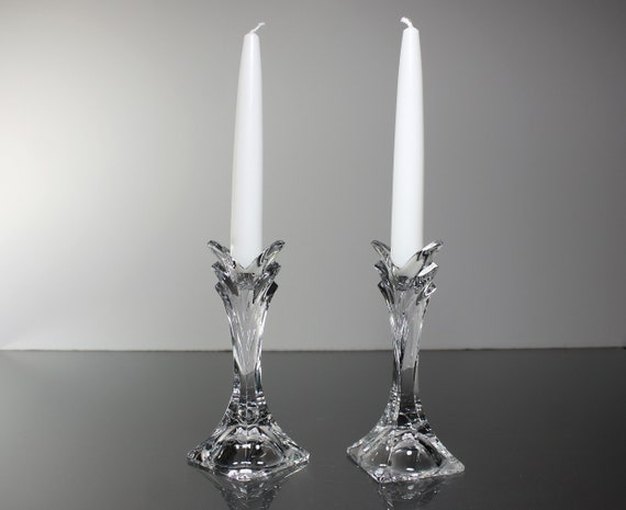 Mikasa Crystal Candlesticks, Deco, Giftware, 5 Inch Tall, Candle Holders, Pair, Clear Glass, White Taper Candles Included