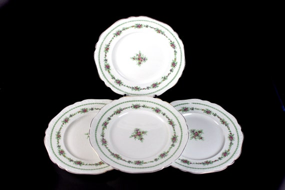 Antique Salad Plates, T & R Boote, Waterloo Potteries, Flemish Garland, Set of 4, Floral Circle, Collectible