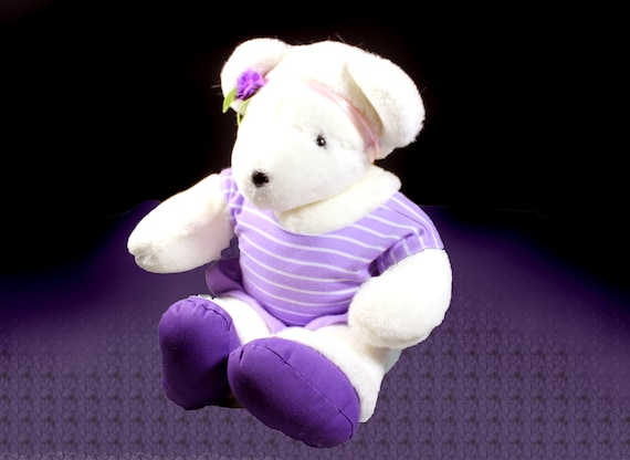 Stuffed Animal, Teddy Bear, Violet The Exercise Bear, North American Bear Co., 19 Inch, 1984 Vintage, Purple and White