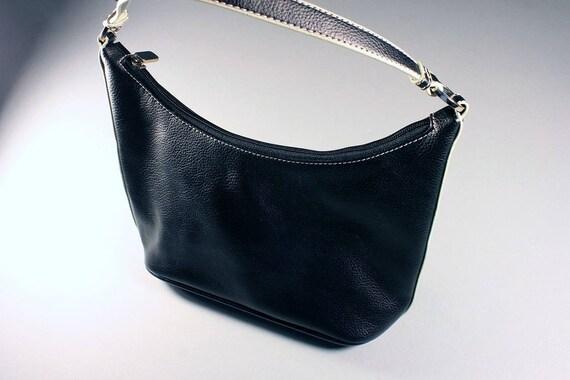 Black Handbag, New York & Co.,  Shoulder Bag, Faux Leather, Zippered Side Compartment, White Trim