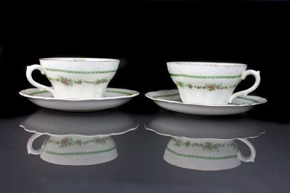 Antique Cups and Saucers, T & R Boote, Flemish Garland, Waterloo Potteries, Set of 2, Semi-Porcelain, Fine China, Floral Swag, Embossed