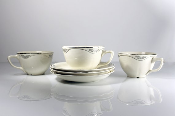 Cups and Saucers, Homer Laughlin, Silver Rose-Patrician, Platinum Florals and Trim, Virginia Rose Shape, Set of 3, Fine China