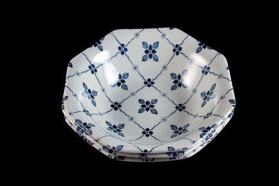 Ironstone Soup Bowls, J & G Meakin, Homespun, Blue Floral and Squares, Octagon, Set of 3, Cereal Bowls