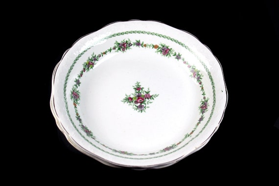 Antique Soup Bowls, T & R Boote, Flemish Garland, Waterloo Potteries, Set of 2, Royal Semi-Porcelain, Fine China, Floral Swag, Embossed