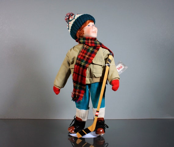 Ashton Drake Porcelain Doll, Winterfest, Hockey Player, Brian, Stand Included, Display Doll, 15 Inch, Original Tags