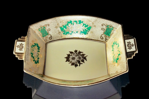Noritake, Decorative Bowl, Gold Gilt, White Flower, Rectangle, Candy Dish, Trinket Dish, Hard to Find, Centerpiece