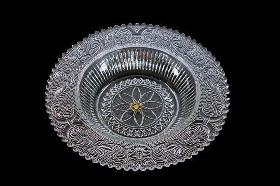 Westmoreland Grapefruit Bowl, Princess Feather Pattern, Sandwich Glass, Clear, Depression Glass, Round, Serving Bowl, Discontinued