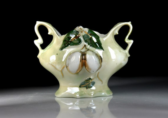 Footed Lusterware Planter, Raised Fruit Pattern, Gold Trim, Porcelain, Hand Painted