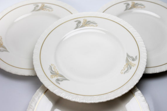 Bread and Butter Plates, Hanover Fine China, Enchantment, Lily of the Valley, Set of 4, Bread Plates