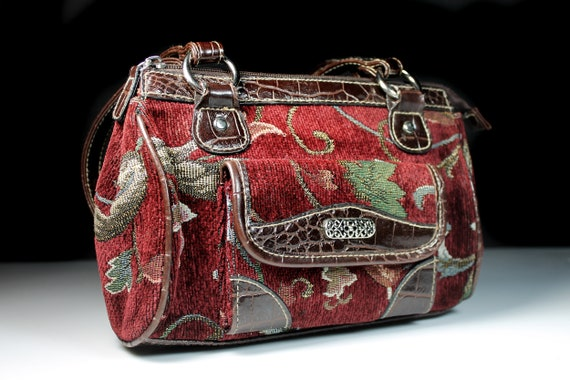 Small Tapestry Handbag, Brown and Red, Purse, Faux Crocodile Leather