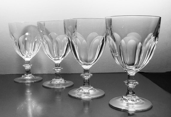 Crystal Water Goblets, Cristal D'Arques-Durand, Rambouillet, Set of 4, Water Glasses, Paneled Sides, Discontinued, Barware