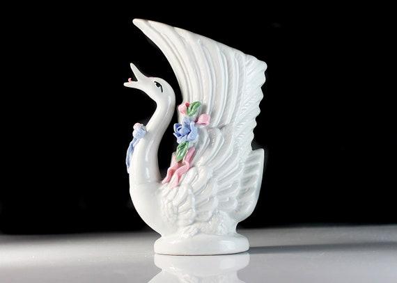 Singing Swan Vase, Raised Flowers, Bird, Figurine, Porcelain, Collectible, Decor