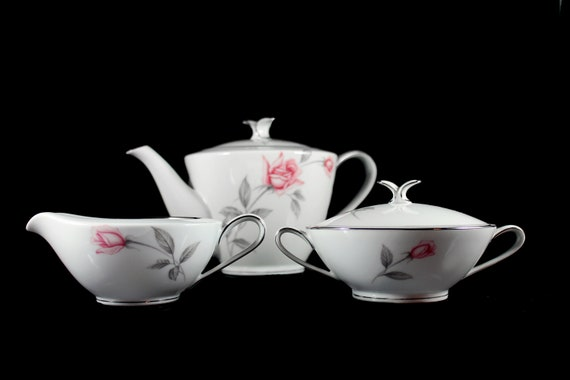 Noritake Tea Service, Teapot, Sugar and Creamer, Rosemarie, Discontinued, Pink Roses, Platinum Trim, 4 Cup, Fine China
